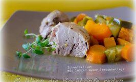 Schweinefilet aus dem Topf mit leicht süßer Gemüsebeilage