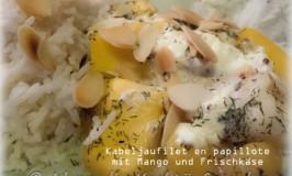 Kabeljaufilet mit Mango und Frischkäse im Backpapier