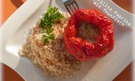 Gefüllte Paprika mit Thunfisch : leicht und lecker