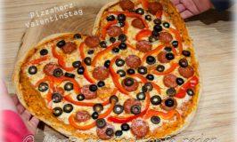 Pizzaherz für Verliebte zum Valentinstag