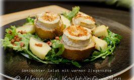 Gemischter Salat mit warmen Ziegenkäse und die Liebesgeschichte der Franzosen für Ziegenkäse