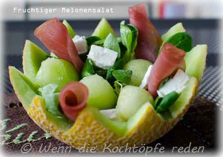 fruchtiger melonensalat mit feta und lachsschinken wenn die kocht pfe reden. Black Bedroom Furniture Sets. Home Design Ideas