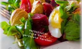 Herbstsalat mit roter Bete und gerösteten Maronen