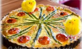Frühlingsanfangsparty! Quiche mit Spargel, Thunfisch und Cherrytomaten