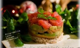 Stressfreies Weihnachtsmenü: mille-feuille Avocado, Lachs und Grapefruit