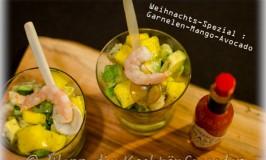Weihnachts-Spezial : Garnelen-Tatar mit Mango und Avocado im Glas