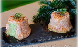 Weihnachtliche einfache Vorspeise:  Mini Lachs-Lauch-Terrinen