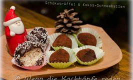 Weihnachtliche einfache Nachspeise: Schokotrüffel & Kokos-Schneebällen